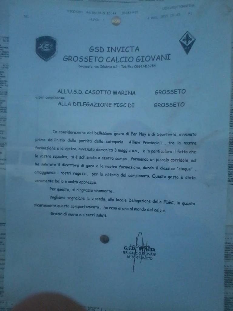 La lettera di ringraziamento inviata dall'Invicta al Casotto Marina