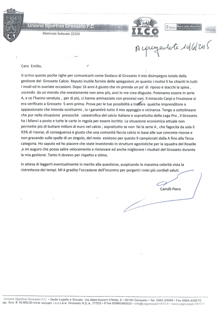 La lettera di Camilli a Bonifazi - 10 giugno 2015