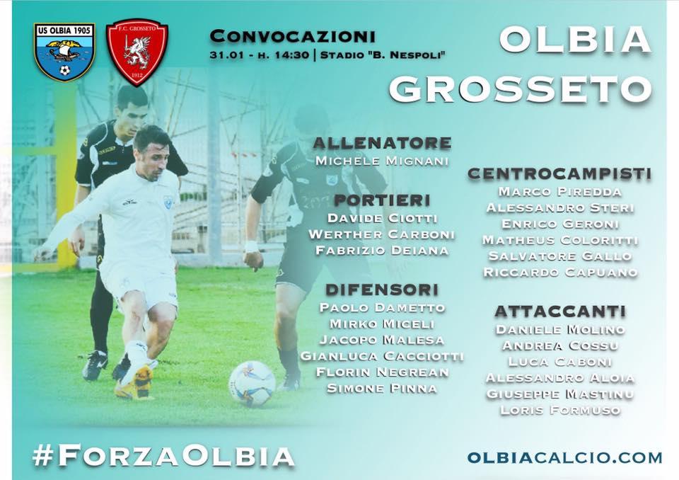 I convocati dell'Olbia - www.usolbia.com