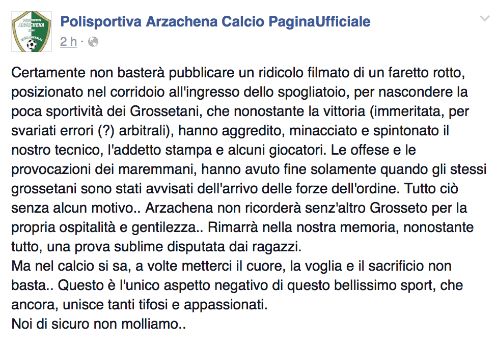 Il post Facebook dell'Arzachena