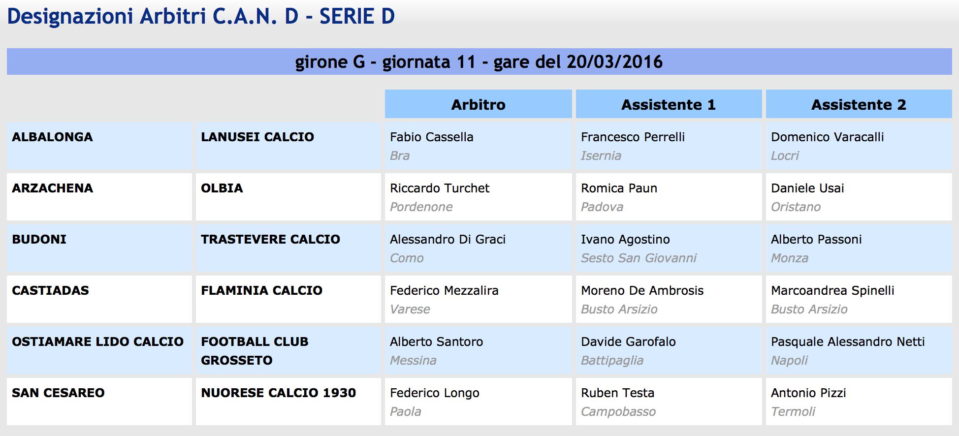 designazioni arbitrali Serie D girone G 28^ giornata 2015-16