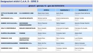 Designazioni arbitrali 29ª giornata Serie D girone E 2015-16