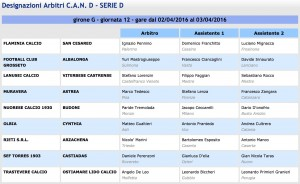 Designazioni arbitrali 29ª giornata Serie D girone G 2015-16