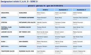 Designazioni arbitrali 33ª giornata Serie D girone G