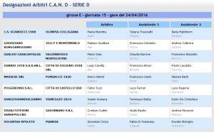 designazioni arbitrali 32^ giornata Serie D girone E 2015-16