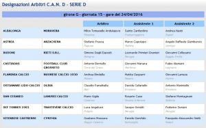 designazioni arbitrali 32^ giornata Serie D girone G 2015-16