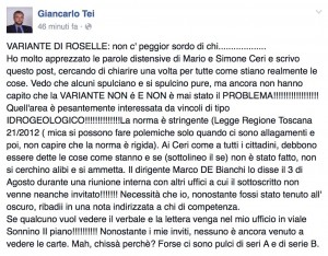 post Facebook di Giancarlo Tei - 8 aprile 2016