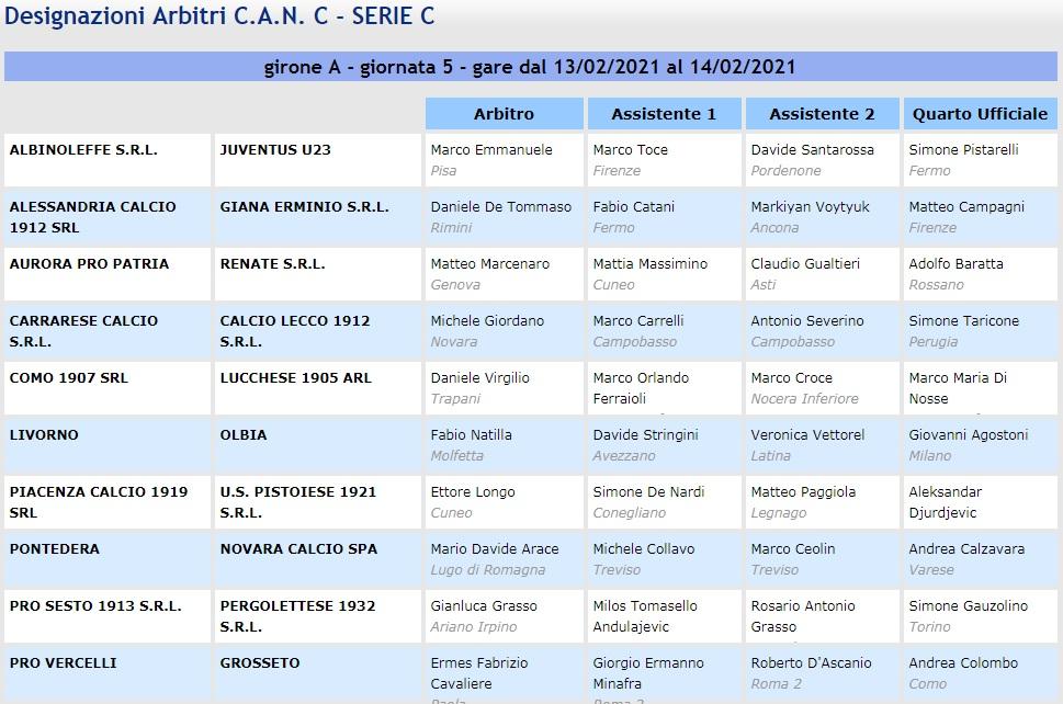designazioni arbitrali 24^ giornata Serie C girone A 2020-21