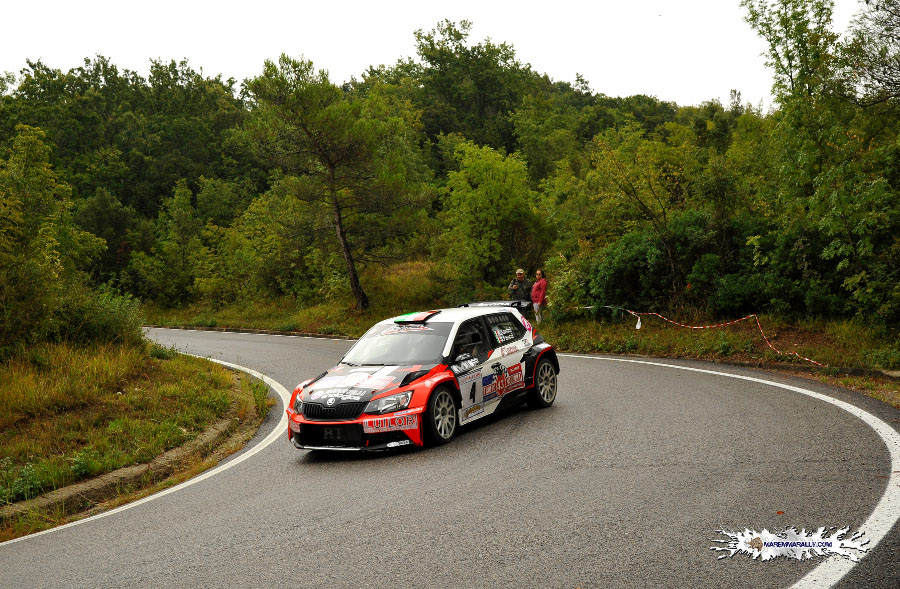 Nella Foto di Marco Ferretti Maremmarally (free copyright) Alessio Santini-Simone Faucci su Skoda Fabia R5 al Rally di Casciana Terme 2019.