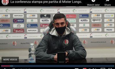 Longo, allenatore alessandrino, nella conferenza stampa alla vigilia di Us Grosseto-Alessandria