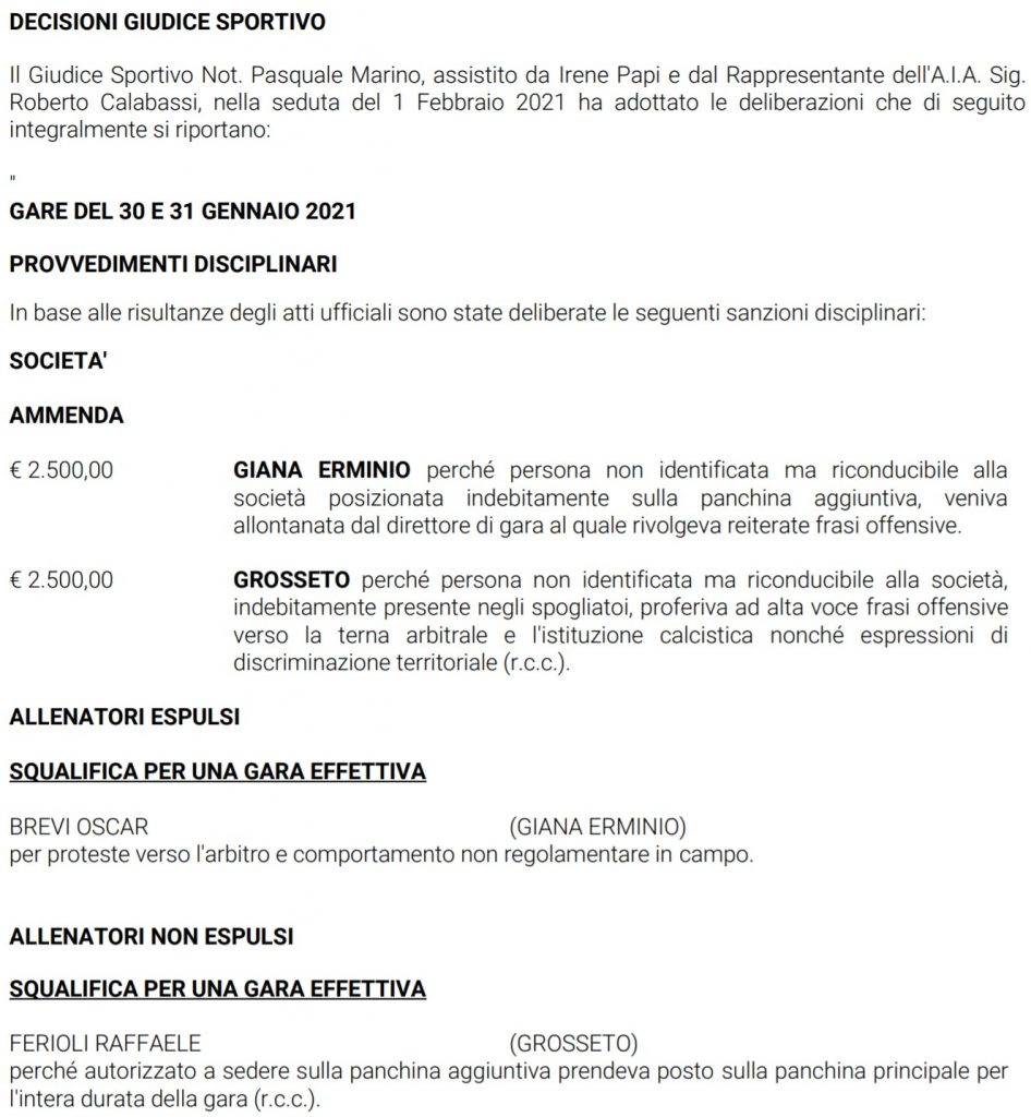 squalifica di Ferioli per una giornata - 2^ giornata Serie C girone A 2020-21