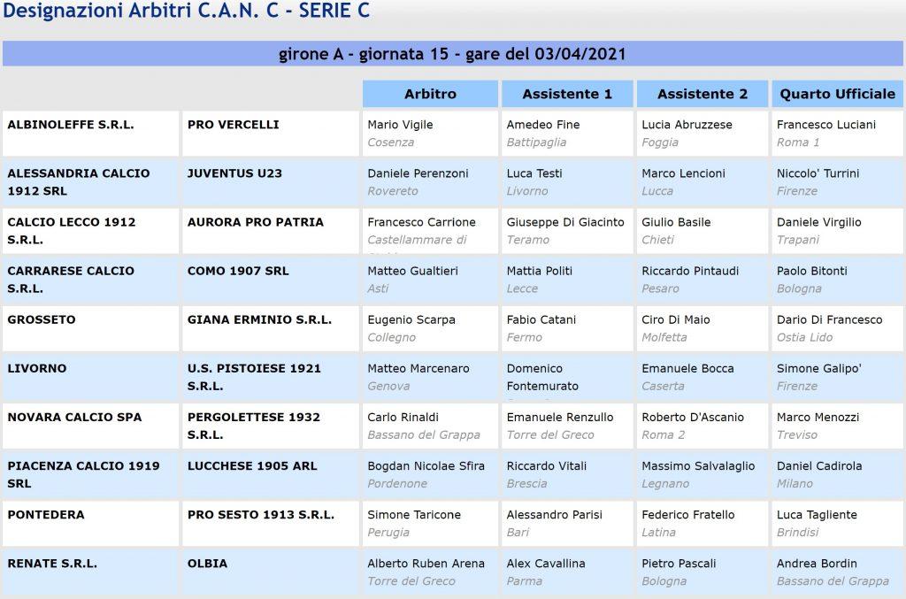 Designazioni arbitrali 34^ Serie C girone A 2020-21