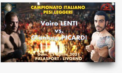 pugilato-locandina-11-aprile-titolo-italiano-dei-pesi-leggeri-tra-il-portacolori-del-team-Rosanna-Conti-Cavini-e-il-livornese-Vairo-Lenti-opposto-a-Gianluca-Picardi-team-Loreni