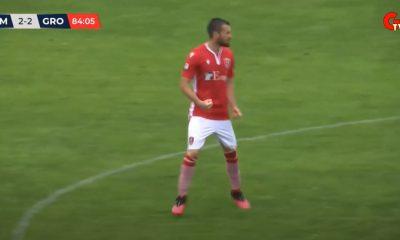 Elia Galligani dopo il gol del 2 a 2 a Como