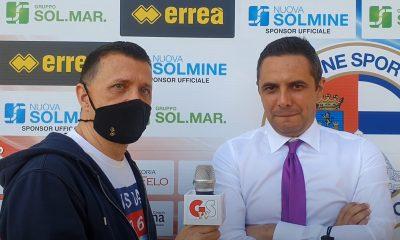 Yuri Galgani (a sinistra) intervista Lorenzo Mansi dopo Follonica Gavorrano-Sangiovannese 0 a 0